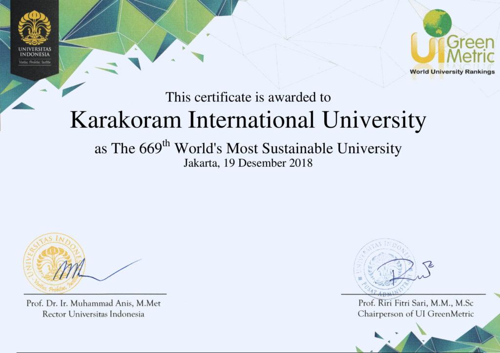 KIU becomes in world 1000 universities adopting Green Metric Initiatives