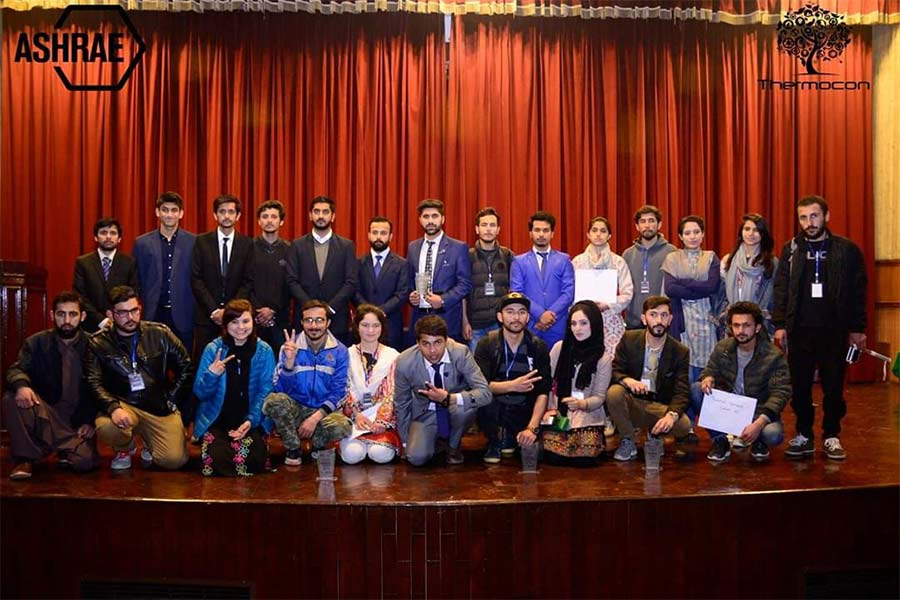 Students of KIU under Adventure Club participated in the Thermocon 2019 held at Ghulam Ishaq Khan Institute (GIKI) Mr Imran Ali, President KIU Adventure Club, was declared the best Ambassador of the event. Participants from the best universities of the country competed in different modules designed to solve real world problems. The modules included, Green Idea Challenge, Innovation Desafio, Thermal Tempest, Kickstart, Poster Presentation and crime scene investigation. Students from KIU won the Thermal tempest module , they also received awards for the green idea challenge, and were the runners up for Innovation Desafio. KIU students achieved First position overall during the event. The students not only showed their academic talents but represented the culture of GB with grace and dignity.