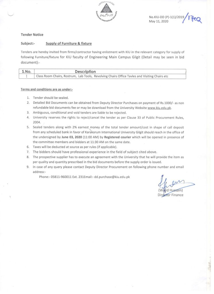 Tender Notice Furniture Engineering Faculty