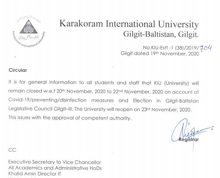 Circular regarding closure of University
